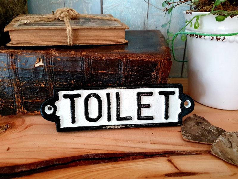 """Antik wirkendes Schild """"Toilet"""" Gusseisen"""