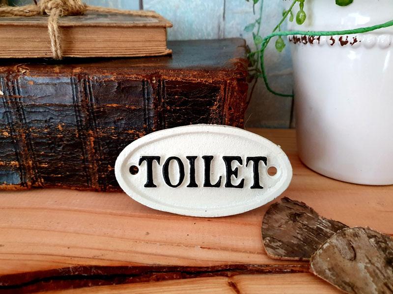 """Antik wirkendes Schild """"Toilet"""" Gusseisen oval"""