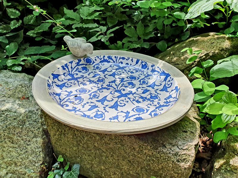 """Keramik Vogeltränke 33cm Ø """"Barockmuster"""""""